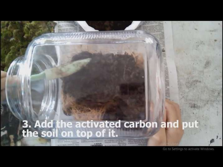 کربن فعال را به تراریوم اضافه میکنیم