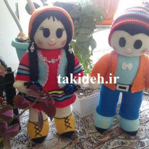 آموزش بافت عروسک دختر و پسر با ماشین بافتنی