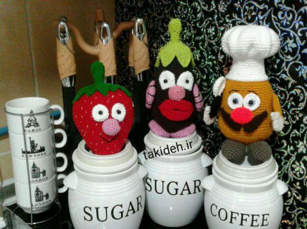آموزش قلاب بافی عروسک های سیب زمینی سرآشپز، بادمجان و توت فرنگی