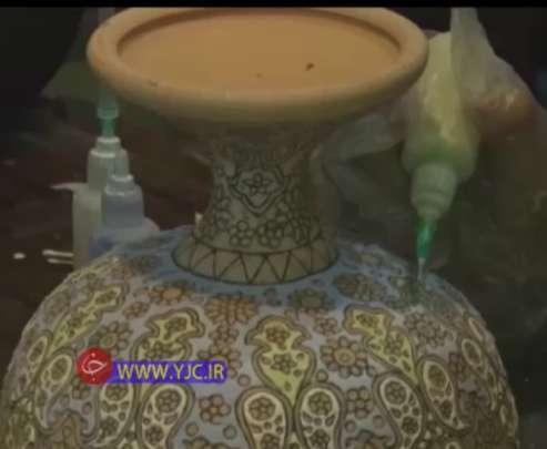 کارآفرینی بانو خوزستانی بامیناکاری سفال