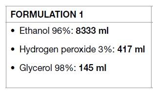 مقادیر و درصدها برای ساخت ماده ضدعفونی
